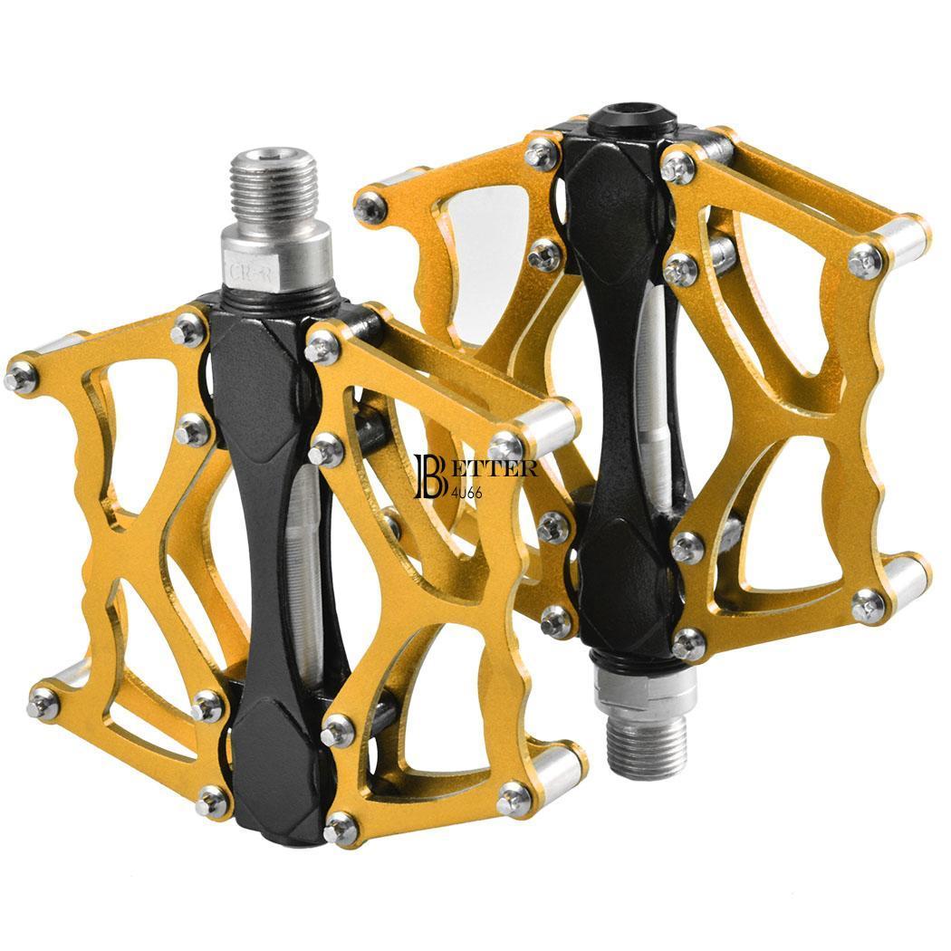 gold sealed bearing bicycle pedals platform flat for mtb. Black Bedroom Furniture Sets. Home Design Ideas