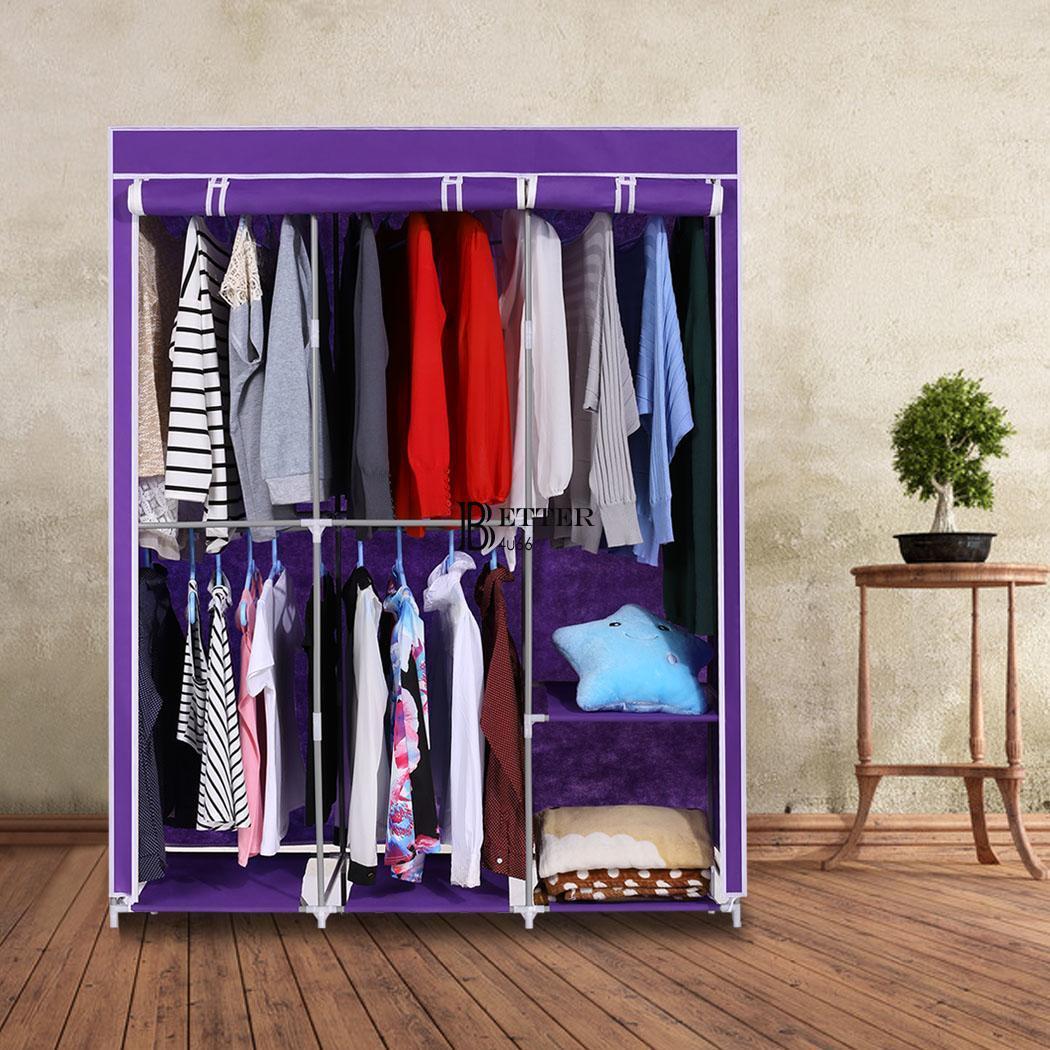 portable closet storage organizer wardrobe clothes rack w shelves 63 home ebay. Black Bedroom Furniture Sets. Home Design Ideas